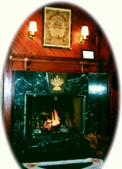 Fireplace with wainscot panelling